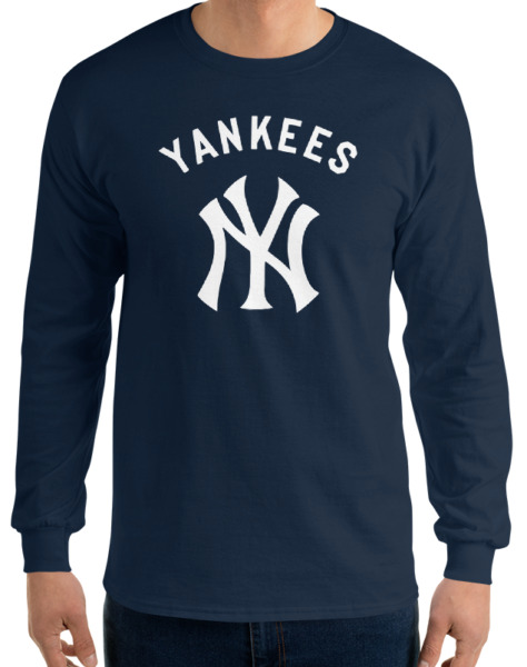 YANKEES New York NY Navy Long Sleeve T-Shirt White Graphic Cotton Unisex S-2XL