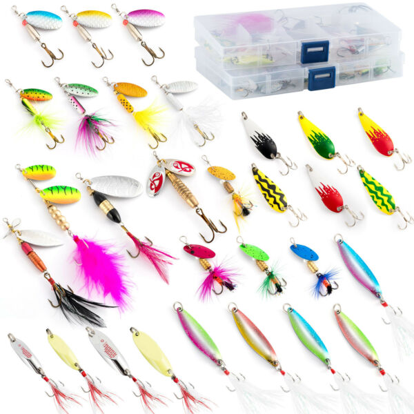 Dr.Fish 30 Spinner Spoon Rooster Hook Bass Pike Fishing Lures Loaded in Boxes $23.99