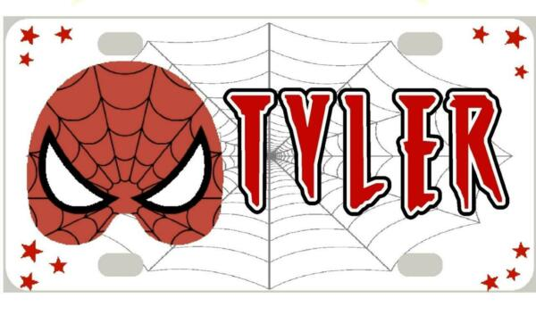 SPIDERMAN MINI LICENSE PLATE Any Name Personalized for Kids Bikes Wagons Wall $13.95
