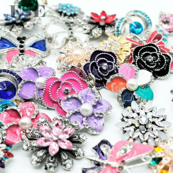 50pcs Top Mix Rhinestone 18mm Snap Button Snap Charms For 20mm Snap Jewelry New