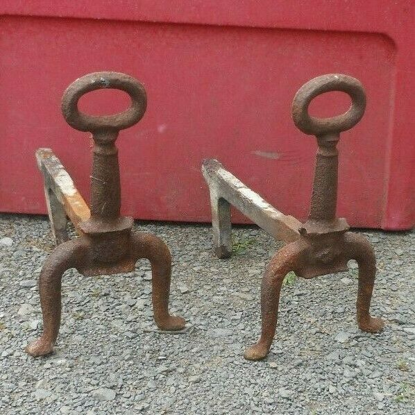 Antique Fireplace Andirons Fire Dogs