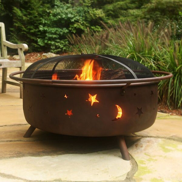 34quot; Cosmic Outdoor Wood Fire Pit Spark Screen Wood Grate amp; Poker