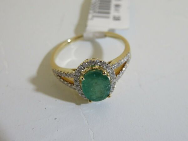 14K YELLOW GOLD EMERALD & DIAMOND RING NEW SIZE 10