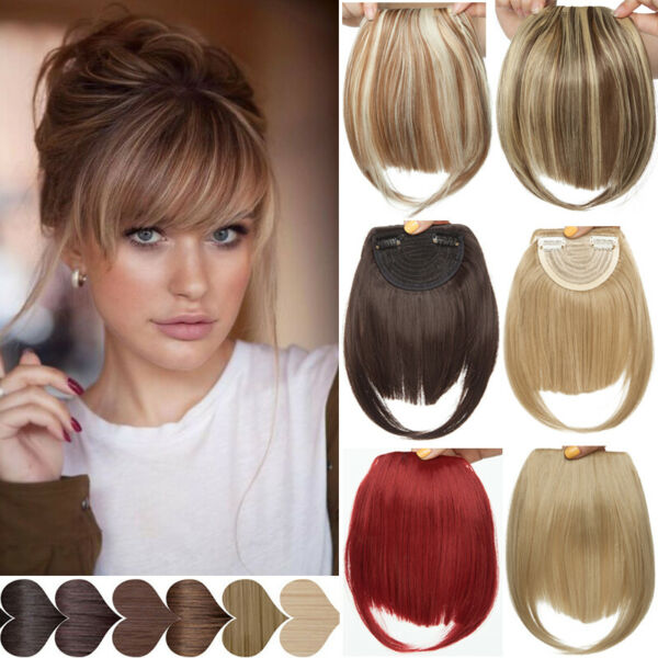 100% Clip In Women For Human Hair Neat Bangs Front Fringe Hair Extensions SOFT