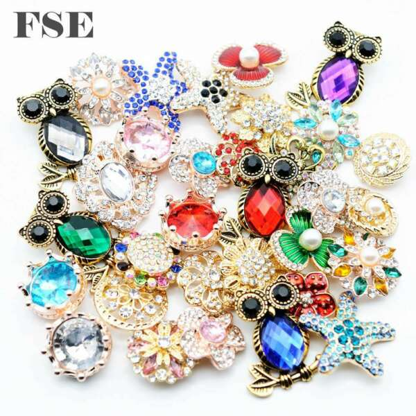 50pcs Gold Mix Rhinestone 18mm Snap Button Snap Charms For 20mm Snap Jewelry New