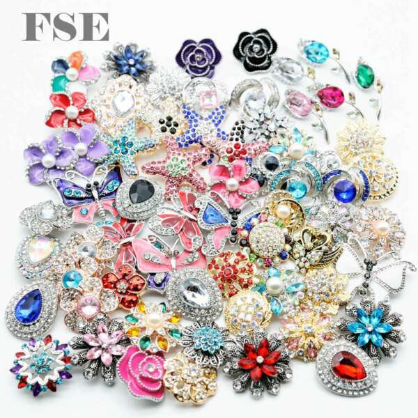 50pcs Mix Top Rhinestone 18mm Snap Button Snap Charms For 20mm Snap Jewelry New