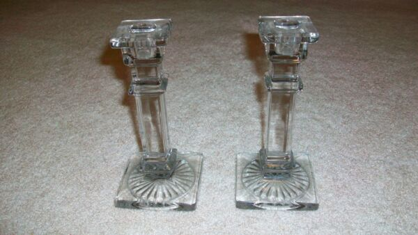 PAIR VINTAGE PRESSED CLEAR GLASS ART DECO CANDLESTICKS HAZEL ATLAS?