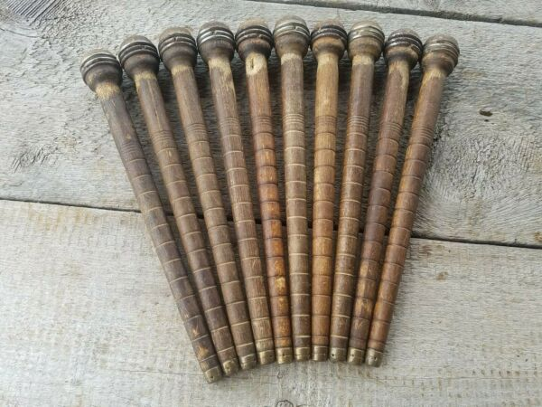 Lot of 10 Vintage Wooden Industrial Textile Thread Spindles Bobbins 10quot;