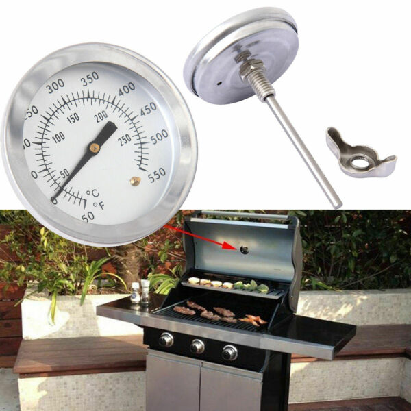 Stainless Steel Barbecue BBQ Smoker Grill Thermometer Temperature Gauge 0~300℃