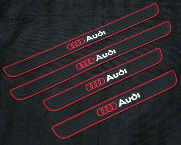 4PCS Black Rubber Car Door Scuff Sill Cover Panel Step Protector For Audi