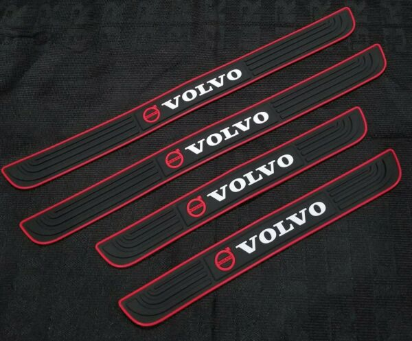 4PCS Black Rubber Car Door Scuff Sill Cover Panel Step Protector For Volvo