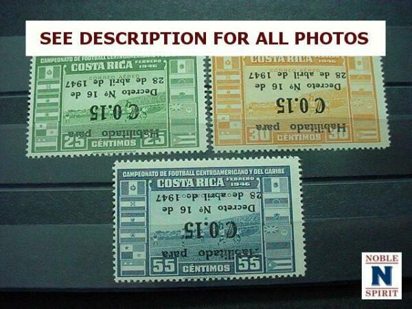 NobleSpirit (TH1) COSTA RICA C145-147 MNH Inverted Overprint ERROR = $1500 CV