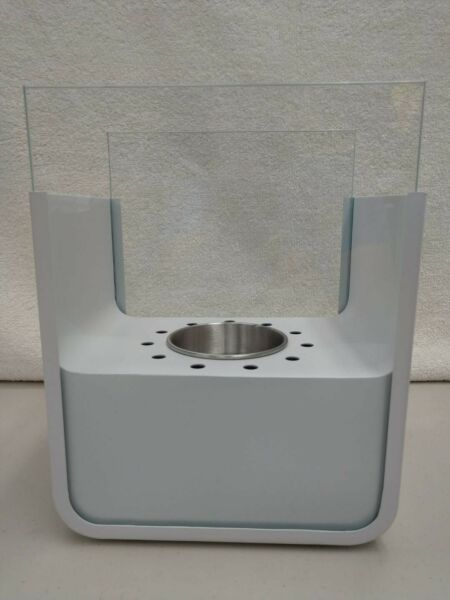 Modern Elegance Mini Table Top Fireplace Stainless Steel White Finish NIB