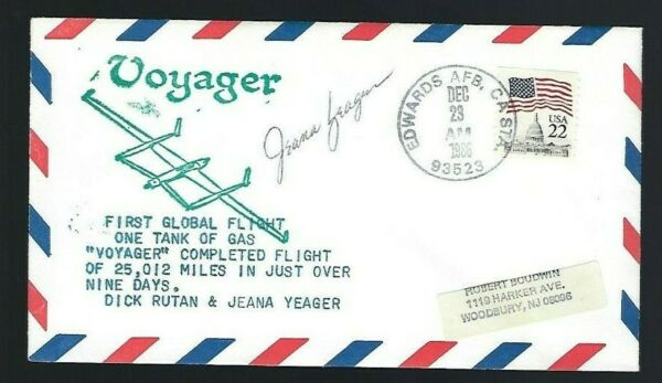 Jeana Yeager signed cover Voyager Co-Pilot  Global Flight Aviator