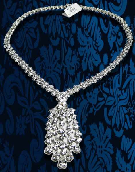 DIAMOND NECKLACE PRETTY MULTI-SHAPE DIAMOND DANGLE STYLE DIAMOND SET NECKLACE