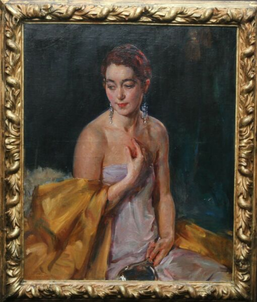 JOHN DA COSTA BRITISH 1930s ART DECO OIL PORTRAIT CHRISTINE BONNAR ARTIST'S WIFE