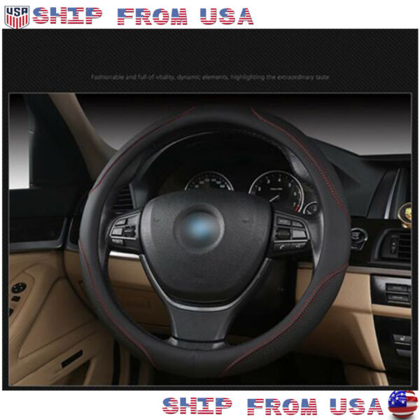 38cm15'' Skidproof PU Leather Black Car Steering Wheel Cover Universal Durable
