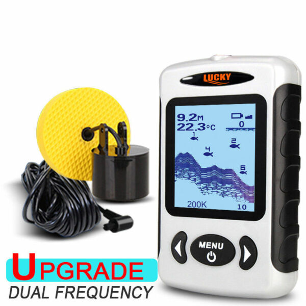 LUCKY Fish Finder 2.2 Inch 100M Dual Sonar Frequency LED Backlight 60 Degree Sea
