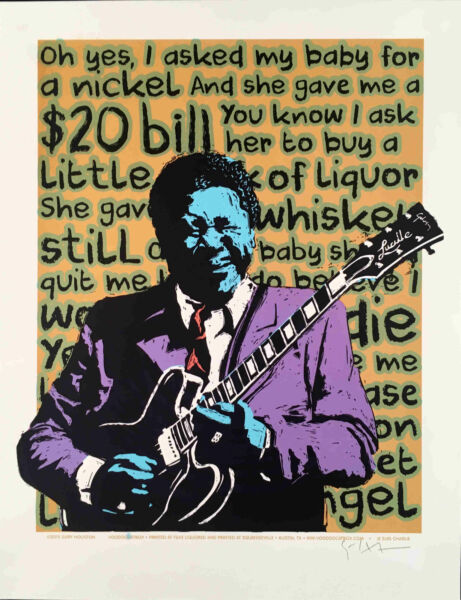 Asked My Baby for a Nickel B.B. King Poster Original S N Signed Gary Houston BB $124.99
