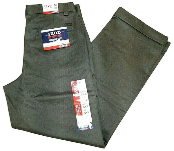 IZOD Brown American Chino Classic Fit Pants Tag Wrong Fit 30x29 NEW