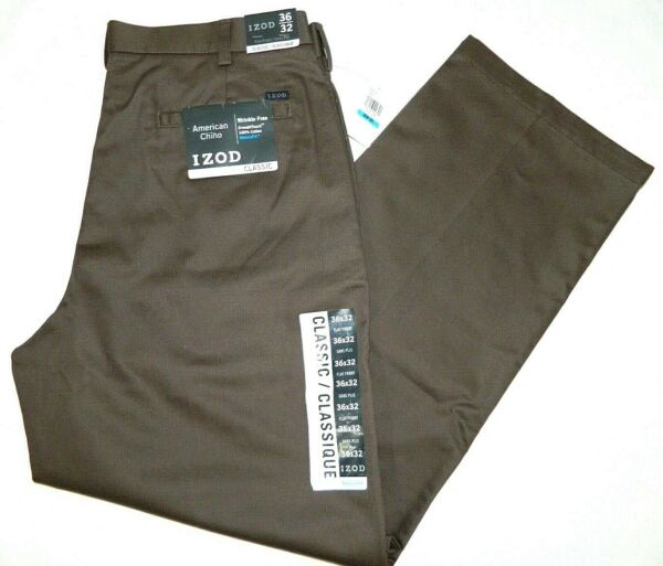 IZOD Brown Classic Fit Flat Front American Chino Pants Tag Wrong Fit 35x31 NEW