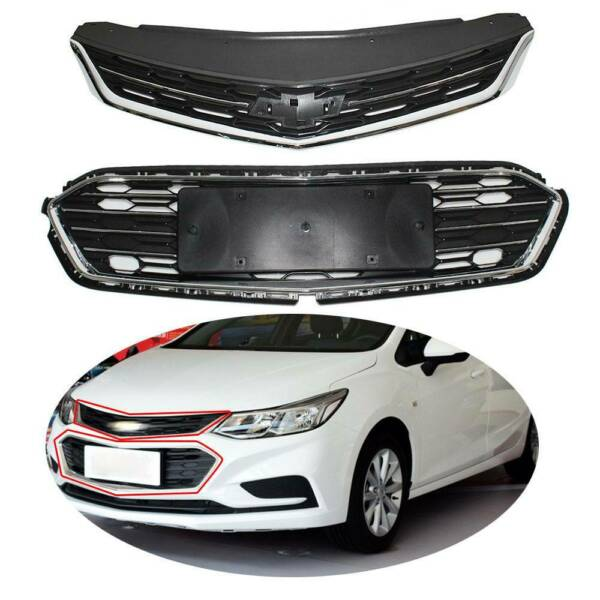 Front Bumper Upper Grill Middle Lower Grille For Chevrolet Cruze 2016-2017 16-17