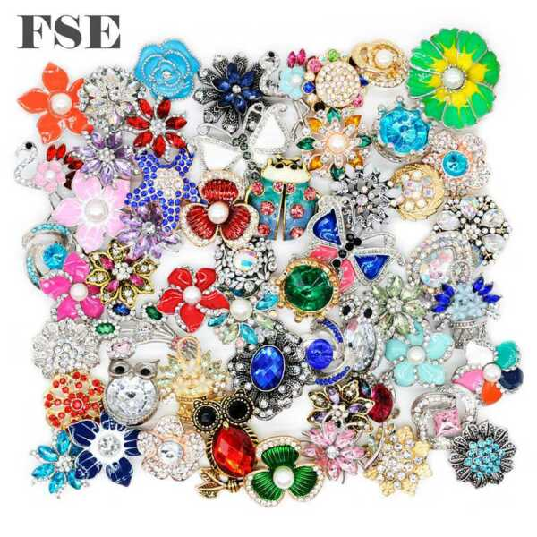 50pcs Best Mix Rhinestone 18mm Snap Button Snap Charms For 20mm Snap Jewelry
