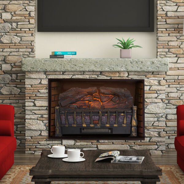 Electric Log Set Heater with Realistic Ember Bed  Fireplace LED Flame - Black
