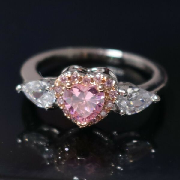 Love Jewelry Heart Pink Ring Sapphire Wedding Engagement Gift Box Nickel Free