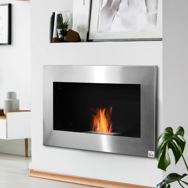 Contemporary Wall Mounted Ventless Bio Ethanol Fireplace Stainless Steel