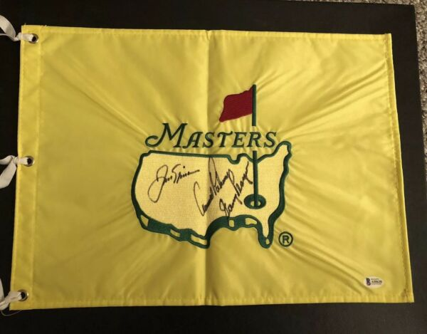 Palmer-Nicklaus-Player Signed Rare 1997 Augusta National Masters Flag Beckett