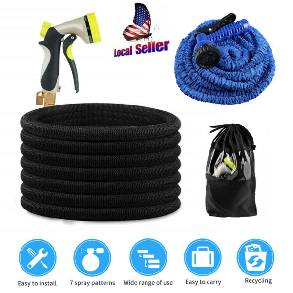 New Deluxe 25 50 75 Feet Expandable Flexible Garden Water Hose w Spray Nozzle