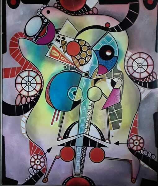 Angel Alfonso Cuban Art Mixed Media on Canvas 28X34