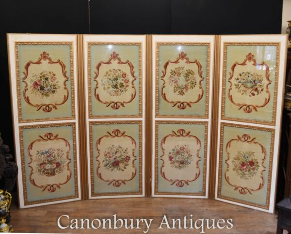 Antique Screen Room Divider Four Fold Needle Point 1890
