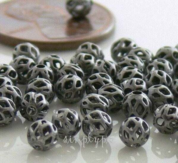 Antiqued Silver Open Weave Metal Beads 4mm 50 Pcs Cut Out Small Spacer Beads