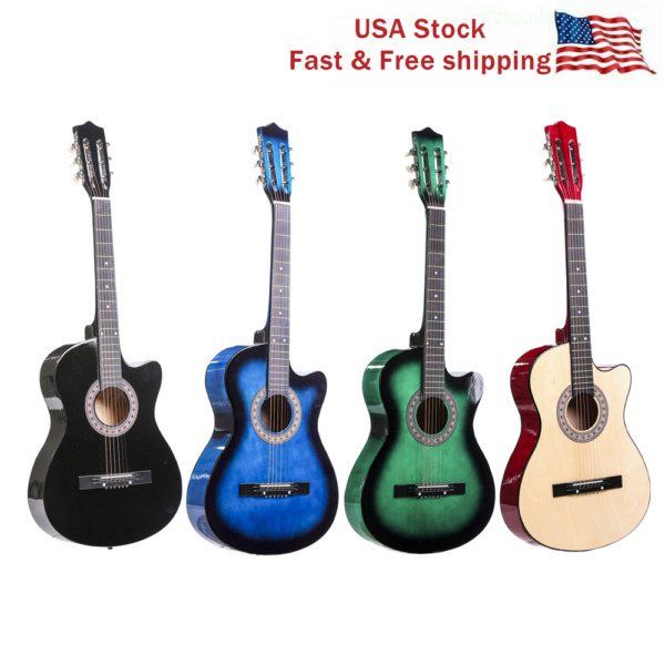 38''Acoustic Guitar Cutaway Musical Instrument Kit wCase Strap Tuner Pick