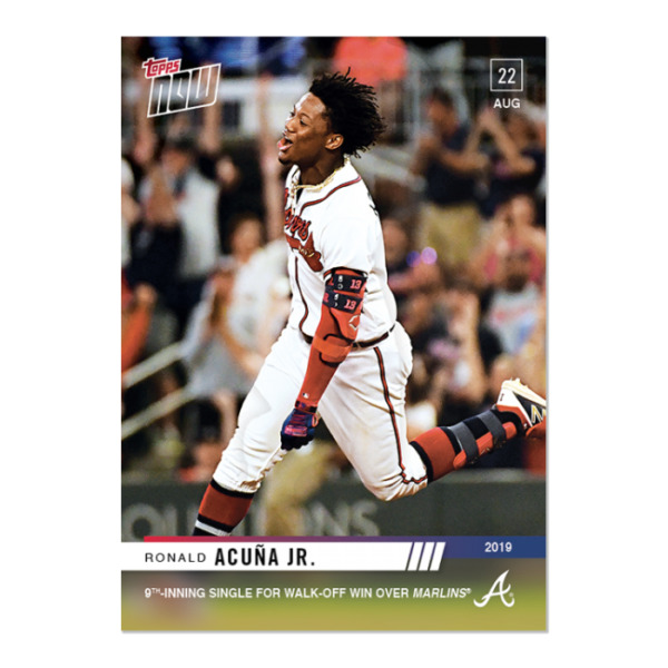 2019 TOPPS NOW # 733 RONALD ACUNA JR. Single for Walk Off Win Braves In Stock $5.99