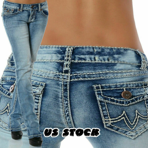 Womens Sexy Low-rise Jeans Denim Straight Pants Slim Trousers Casual Long Jeans
