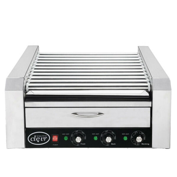Commercial Hot Dog Machine 11 Roller and 30 Hotdog Grill Cooker with Bun Warmer $198.99