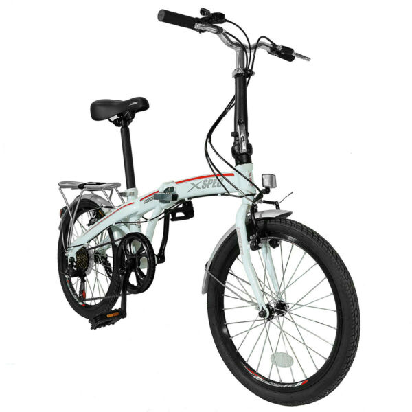Xspec 20quot; 7 Speed City Folding Mini Compact Bike Bicycle Commuter White $219.99