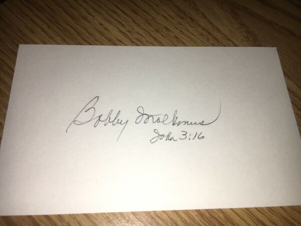 Bobby Malkmus   1957 Milwaukee Braves  Signed 3x5 index Card