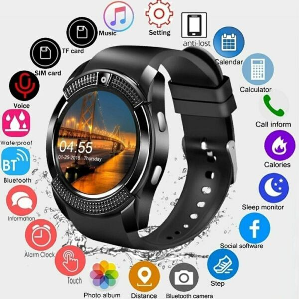 V8 Bluetooth Smart Watch Touch Screen 0.3MP Camera Fitness Tracker Wrist For iOS