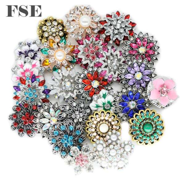 Wholesale 18mm Snap Button Multi Rhinestone Snap Charms For 20mm Snap Jewelry 07