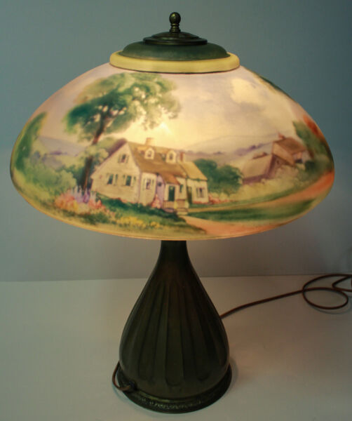 Antique Pairpoint Signed Lamp – Reversed Painted Country Farm Scene Shade