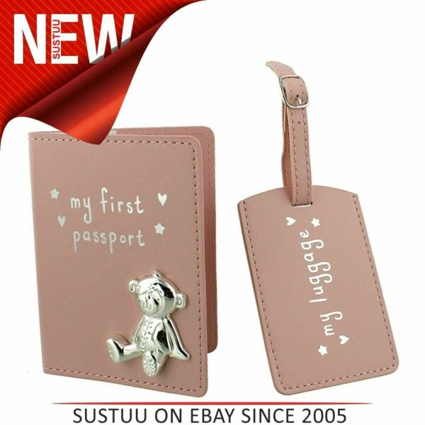 Button Corner PU My First Passport & Luggage Tag│Giftware CollectionSet│Pink│