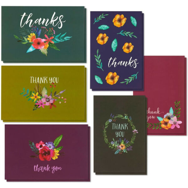 48 Pcs Thank You Cards Bulk Set Watercolor Flower Blank Note with Envelopes