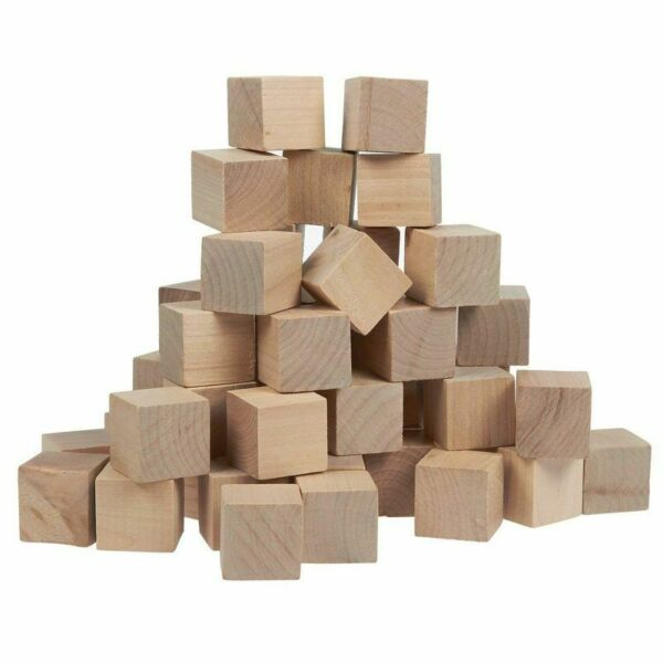 50 Pcs Small Plain Wooden Cubes Wood Square Blocks for Crafts DIY Projects 1quot;
