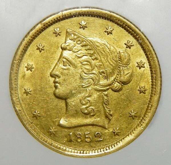 RARE!! 1852 NGC MS61 $10 MOFFAT & CO. WIDE DATE CALIFORNIA GOLD