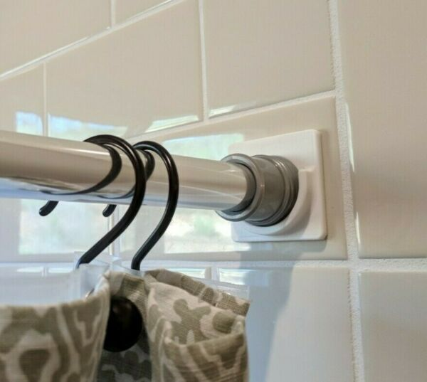 Rod Retainer™: Adhesive Shower Curtain Rod Holder Stick-On No Drilling! (White)