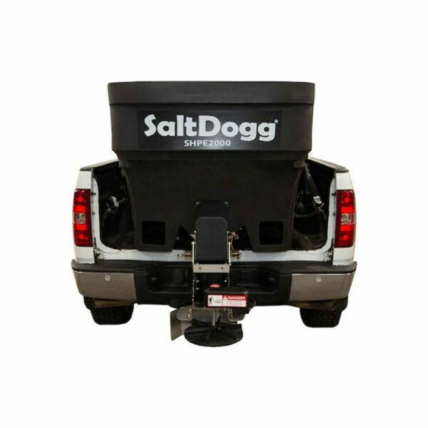 SaltDogg 2.0 Cubic Yard Electric Black Poly Hopper Spreader with Extended Chute